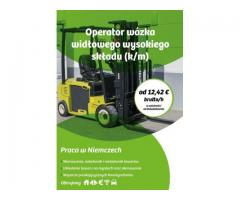 Operator wózka widłowego wysokiego składu z językiem niemieckim